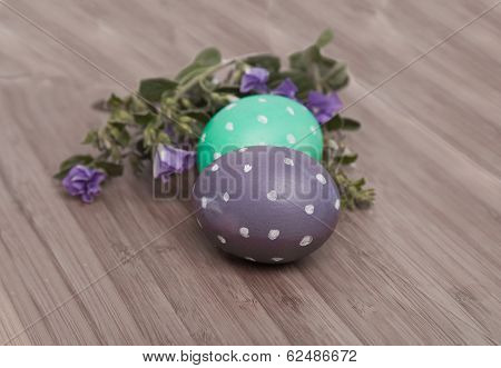 Dotted Eggs On Wooden Background