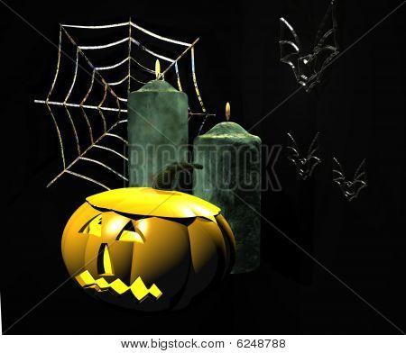Abóbora de Halloween com velas
