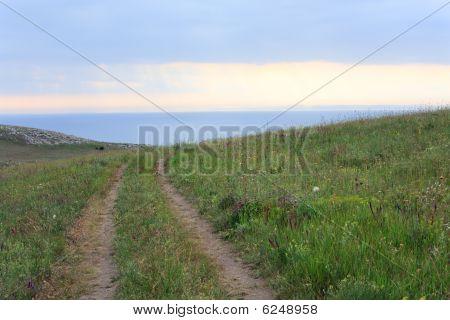 Summer Sea Coast And Soil Road