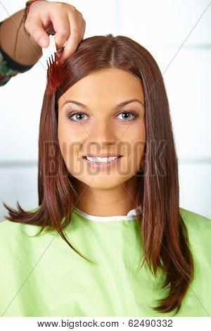 Hair Salon. Woman Choses Color Of Dye.
