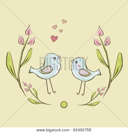 cute birds are framed  by flowers background