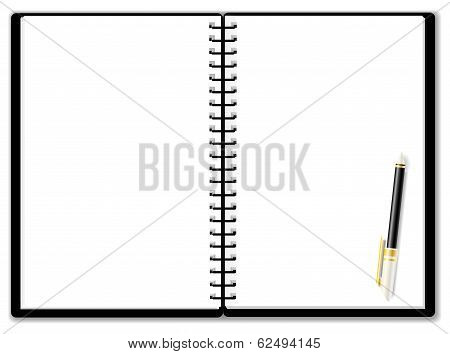 Usable Notepad Background Woth Ballpoint Pen, Create By Vector