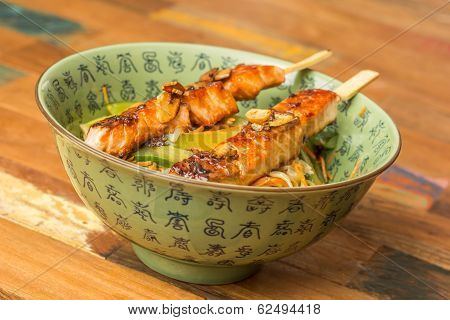 Japanese Salmon Yakitori With Noodles