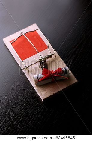 Mousetrap with dollar on wooden background