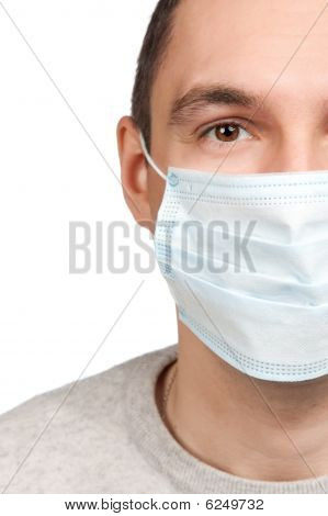 Man Portrait Wearing Protective Mask