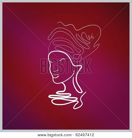Abstraction of a woman's face with patterns