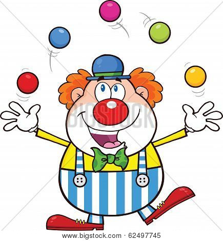 Funny Clown Character Juggling With Balls