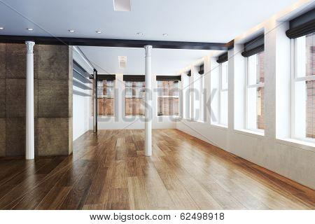 Empty Highrise apartment with column accent interior