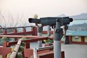 Tourist Binoculars At Octagonal Pavilion Of Bugak Skyway In Seoul, Korea poster