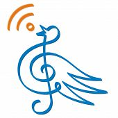 image of treble clef  - Treble clef bird line - JPG