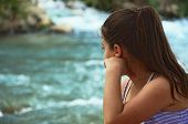 picture of israel people  - Girl watching the Jordan River  - JPG