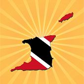 Trinidad map flag on sunburst vector illustration