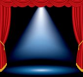 stock photo of broadway  - vector one big blue spotlight on stage with red curtain - JPG