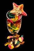 picture of gummy bear  - gummy bears  and a wine glass on a dark background - JPG
