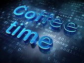 Time concept: Blue Coffee Time on digital background