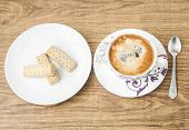 stock photo of shortbread  - Coffee cup and shortbread biscuits - JPG