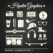 Hipster Hand-drawn Graphic Set On Chalkboard Background.