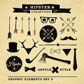 image of mustache  - Hipster graphic set on the vintage background with repeating geometric tiles of rhombuses - JPG