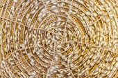 image of silk worm  - Group of silk worm cocoons nests in bamboo basket Thailand source - JPG
