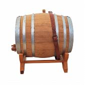 Wine Barrel On White