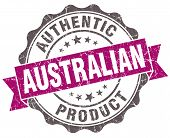 Australian Product Violet Grunge Retro Style Isolated Seal