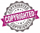 Copyrighted Violet Grunge Retro Style Isolated Seal