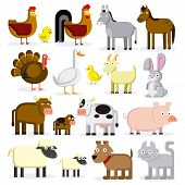 stock photo of baby goose  - Vector Set Of Different Cartoon Farm Animals Isolated - JPG