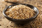image of flax plant  - Organic Raw Flax Seeds in a Bowl  - JPG