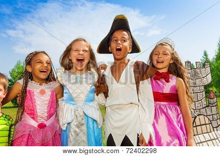 Close up view of children in festival costumes