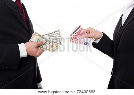 Closeup Of Man And Woman With Money