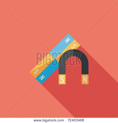 Magnet Flat Icon With Long Shadow,eps10