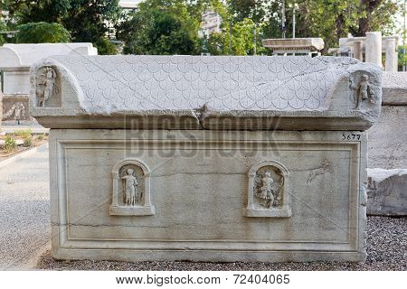 The Parts Of The Funerary Monuments With Inscriptions, Pediments Or Relief Representations In Archae