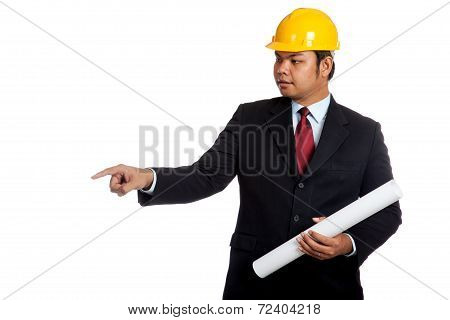 Asian Engineer Man Hold Blue Print And Point Down