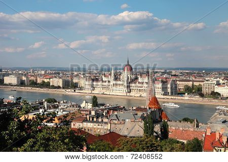 View Of The Budapest And Danube River From Buda Castle