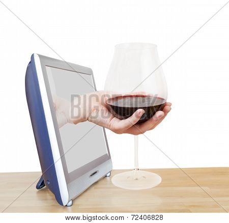 Hand Holding Big Glass With Red Wine Leans Out Tv