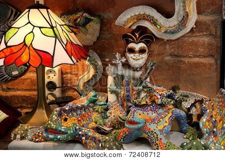 Barcelona, Spain - July 8, 2014: Souvenirs Of The Barcelona Mosaic Figurine Designed By Antonio Gaud