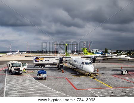 Preflight service of the plane of airline Airbaltic at the Riga International Airport