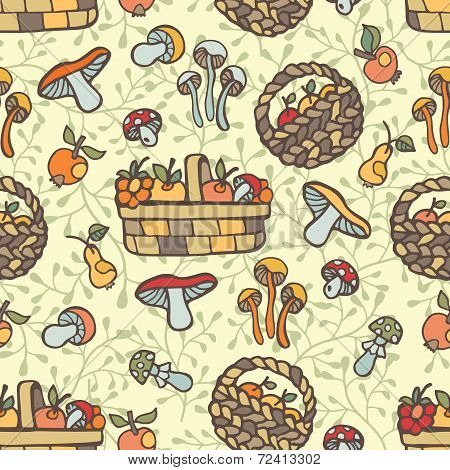 Doodle seamless pattern.Autumn harvest vector