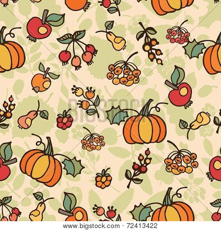 Doodle seamless pattern.Autumn harvest fruit vector