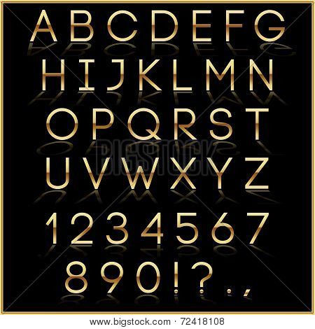 Vector golden alphabet letters with reflection on black background