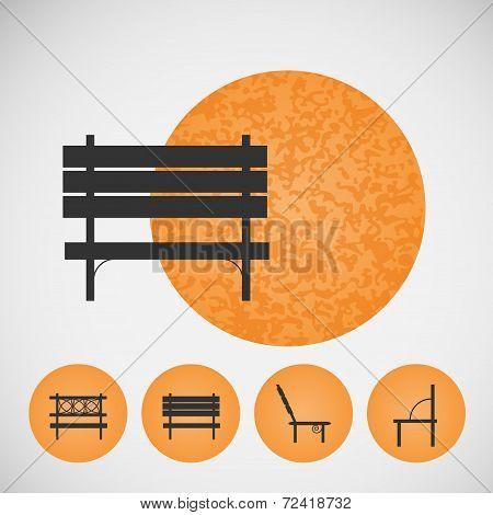 Set vintage street bench on colored backgrounds