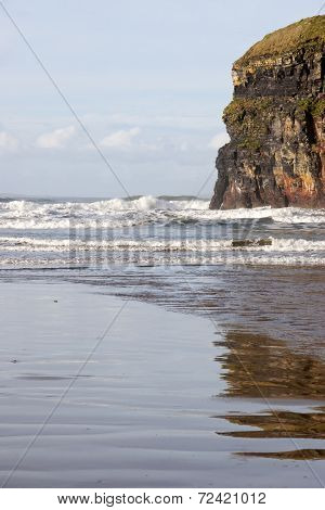Cliffs Of Ballybunion With Reflections