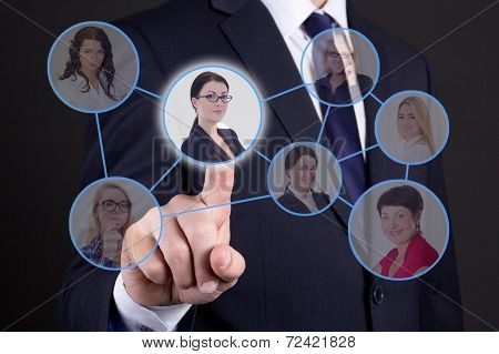 Job Search Concept - Business Man Pressing Buttons With People Portraits