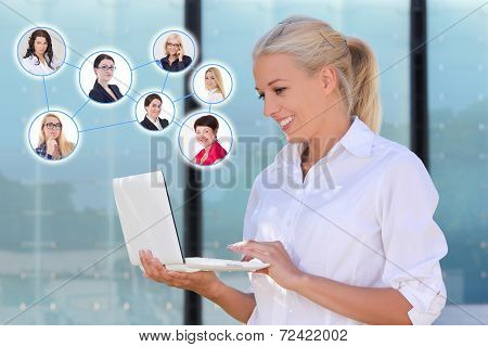 Social Network Concept - Business Woman With Laptop In The Street