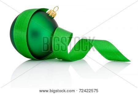 Green Christmas Ball Covered With Curled Ribbon Isolated On White Background