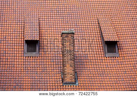 Architecture Detail Chimney And Garret Red Tiles Roof