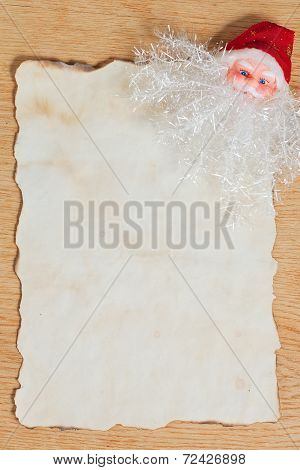 Christmas Letter For Santa With Old Parchment And Santa Claus Decoration
