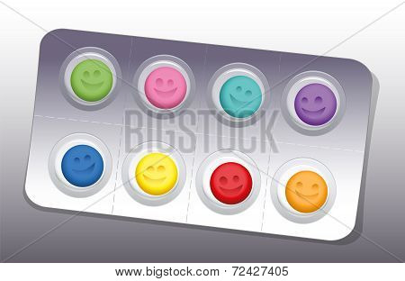 Pills Blister Happy Smile Colors