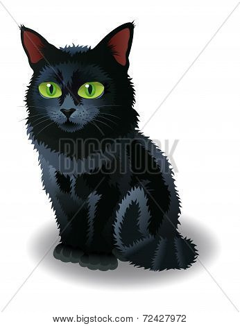 Black Halloween Cat. Vector illustration.
