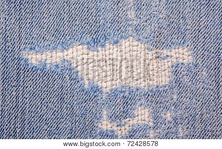 The Torn Old Blue Jeans Texture